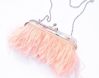 Ostrich Feather Clutch - Blush - Silver - bridal purse - wedding purse