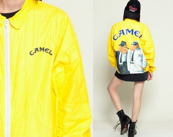 Tyvek Jacket CAMEL CIGARETTES 90s Windbreaker Camel Joe Smoker Plastic Grunge Coat Bright Vintage Hipster Smoking Yellow Extra Large XL