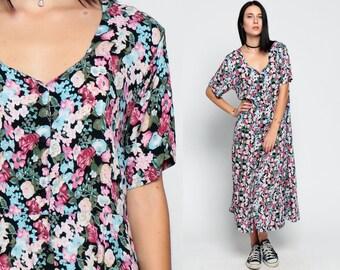 90s Floral Dress Grunge Button Up Boho Summer Bohemian Blue Pink High Waist Midi 1990s Short Sleeve Vintage Garden Party Button Up Large