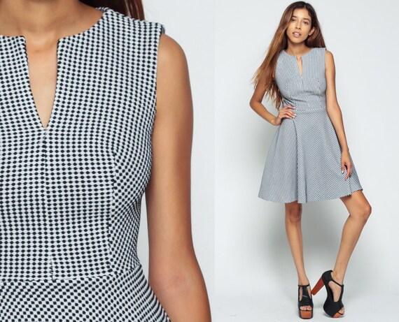 Mod Dress 70s Mini Black And White Checkered 60s Skater Op Art