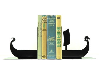 Viking Ship Metal Art Bookends - Free USA shipping