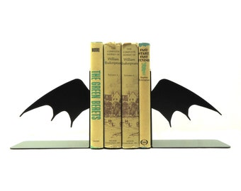 Bat Wing Metal Art Bookends - Free USA Shipping