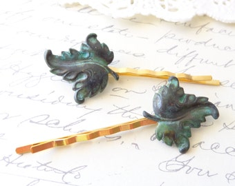 Verdigris Leaf Hair Pin Set - Woodland Collection - Whimsical - Nature - Bridal - Leaf Bobby Pin Set