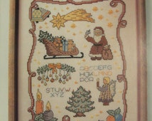 Merry Christmas Sampler, Zweigart, Counted Cross Stitch Pattern, Colored Graph, Crafting, Needlework,Printed in Germany