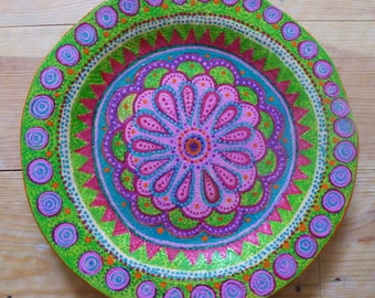 Hand-made, hand-painted plate.