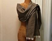 Farmhouse Blanket Scarf Wrap Homespun Black, Tan Oversized Lace Doily Vintage Crochet Womens