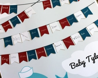 Baby Shower Guest Sign-In Guestbook Guestbook Alternative  Whale Nautical Theme Multiple Sizes