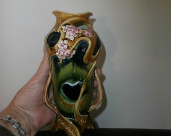 Vase -Footed  Two Handle-Ceramic Vase- Unique- Abstract - Colorful  Flower Vase # 7216