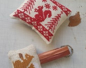 Handmade Cross Stitched Red Squirrel Ornament and Squirrel Keychain Set