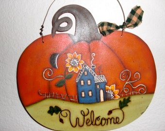 Whimisical Pumpkin Welcome sign