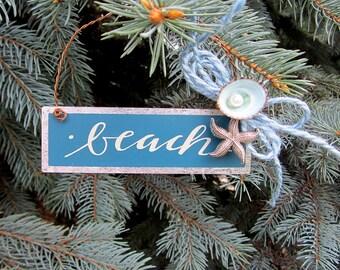 "Nautical Decor Beach ""beach"" Tin Holiday Ornament w Seashells"