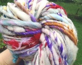 RESERVED RESERVED  Art yarn 72yds 6.5 oz BIG skein handspun, homespun, multicolored, delicious