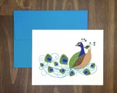wedding card / peacock couple / romantic / beautiful love birds / birds of a feather flock together / feathers / any occasion / anniversary