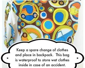 Back to School, preschool or kindergarten bag, waterproof washable wetbag, Bag for wet clothes