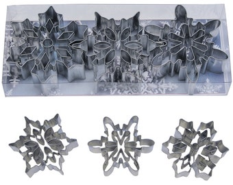 """3"""" set of 3 Snowflake Cookie Cutter w/ insert cutters  cupcake fondant or pie top cutter Christmas Cookie Cutter Frozen cake"""