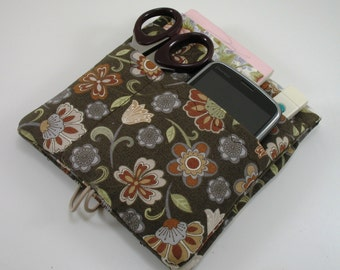 Medical Pocket Organizer - Made to order- Nurse Scrubs Pocket Case - Two sizes available- Brown floral
