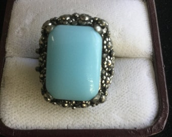 Vintage Large Faux Turquoise Floral Ring