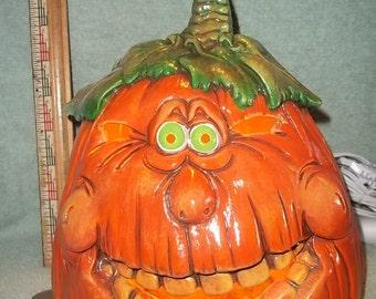 Silly Faced Light Up Pumpkin Jack O Lantern Halloween Decoration Made of Ceramic