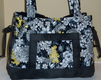 Quilted Tote Bag Purse Handbag in Black White and Yellow and Ready to Ship