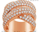 Women's rose gold or white gold diamond ring featuring 3.00ctw round cut diamonds