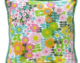 "Throw Pillow made from 1960s Vintage Floral Fabric in Pink, Orange, Sky Blue and Chartreuse - With Piping / 16"" x 16"" SQUARE"