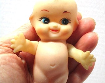 Vintage Kewpie Doll, Long Lashes, Naked, Adorably Sweet and Tiny, Vintage Craft Supply, Cake / Package Topper, Baby Shower, Blue Eye Ginger