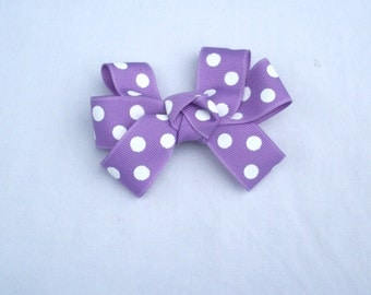 Small Purple Polka Dotted Bow