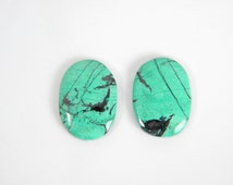 Sonora Sunrise cabochon matched pair for earring supply. Green/blue oval cabochon pair of chrysocolla with black tenorite pattern