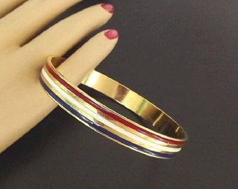 Vintage Bangle Bracelet with Red White Blue, Patriotic Jewelry, Retro 1970 Costume Jewelry, Ladies Jewelry Accessories