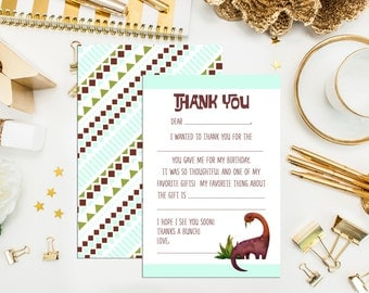 SALE. Pre-Written Dinosaur Children Thank You Notes. Ready to ship. Set of 10 cards. Dinosaur notes. kids thank you notes. Fill In Cards.