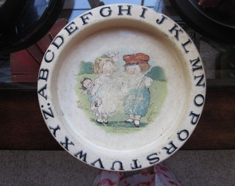 SALE! Vintage Buffalo Pottery ABC Alphabet Childs Dish Well Loved and Used!