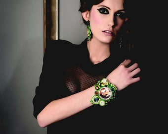 Statement couture swarovski cuff , Frida Kahlo bead art bracelet , green gold bracelet , ethnic inspired soutache jewellery  , unique design