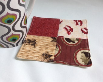 Mug Rug, drink coaster, The Wizard of Oz, red and sepia tones, office or cubicle desk accessory, cup mat
