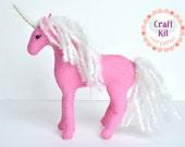 DIY Pink Unicorn Sewing Kit * Make Your Own Stuffed Unicorn * DIY Craft Kit with Felt Animal, Pink Unicorn Plush
