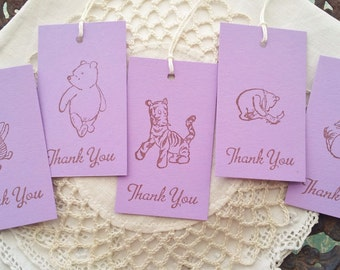 Winnie the Pooh Thank You Tags Baby Shower or Birthday Set of 10