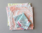 Set of Six Marbled Cocktail Napkins in Mixed Patterns