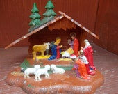 Vintage Hong Kong Miniature Plastic Nativity Scene