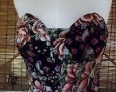 Vintage 80s Floral Bustier S