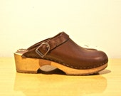 SALE / Clogs // Brown Leather with Wood Sole // Euro 39