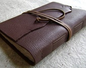 "Leather journal, 5.5""x 7.5"", chocolate brown, handmade journal by Dancing Grey Studio (1605)"