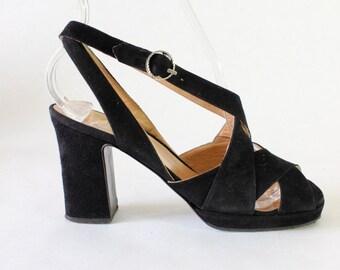 Vintage 1940s Black Suede Platform High Heel Sandals, size 5