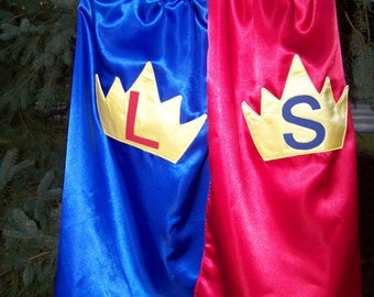 Crown Cape Superhero Prince Princess Cape Custom Super Hero Crown Kids Cape Reversible in Washable Satin Personalized with Name or Initial