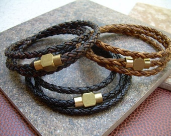 Leather Bracelet With Raw Brass Magnetic Clasp, Mens Triple Wrap Braided, Mens Jewelry, Mens Bracelet, Leather Bracelet, Mens Wrap Bracelet