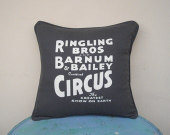 "Circus Sideshow grey silk screened 16"" x 16"" throw pillow cover - circus decor, decorative pillow cover, grey pillow"