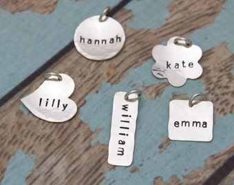 Sterling Silver Personalized Hand Stamped Charms Choose Your Shape