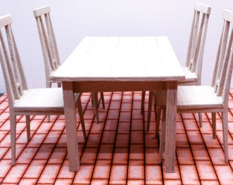 Miniature modern white dining table with 4 chairs, IKEA inspired, natural wood colour 1/12 scale for dollhouses