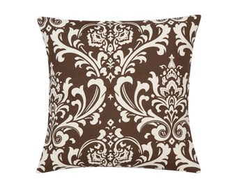 BROWN Pillow Cover.Decorator Pillow Cover.Home Decor.Large Print.DAMASK.Cushions. Cushion.Pillow. Premier Prints