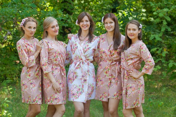Rose Gold Bridesmaids Robes. Kimono Robes. Bridesmaids Gifts