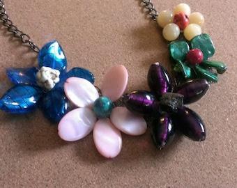 Gemstone flower necklace