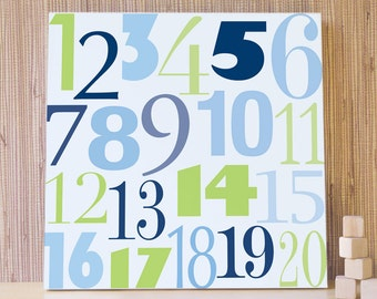 Navy Blue, Green Numbers, Children Wall Art for Nursery and Kids Room, Kids Decor, Canvas, Nursery, Numbers. Count to 20 Canvas